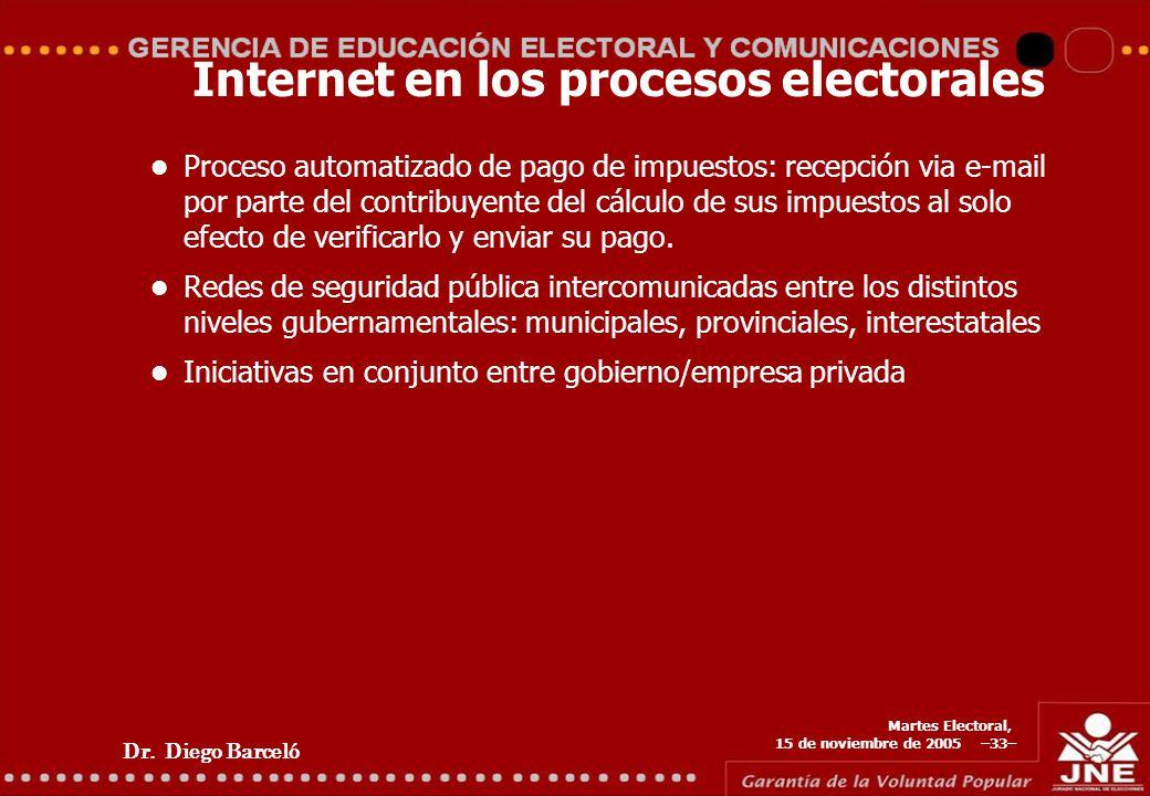Dr. Diego Barceló Martes Electoral, 15 de noviembre de 2005 –33– Internet en los procesos electorales Proceso automatizado de pago de impuestos: recep