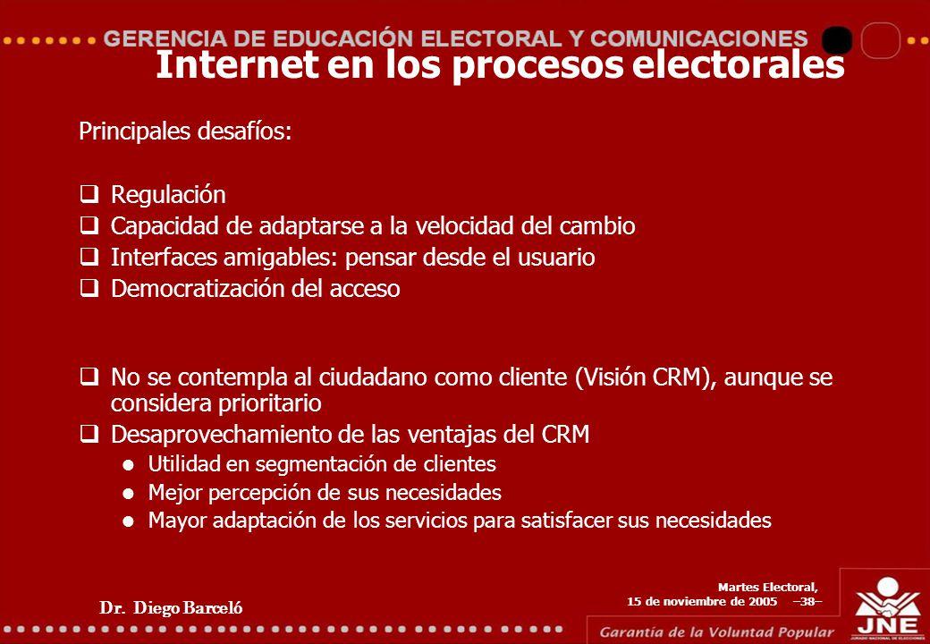 Dr. Diego Barceló Martes Electoral, 15 de noviembre de 2005 –38– Internet en los procesos electorales Principales desafíos: Regulación Capacidad de ad