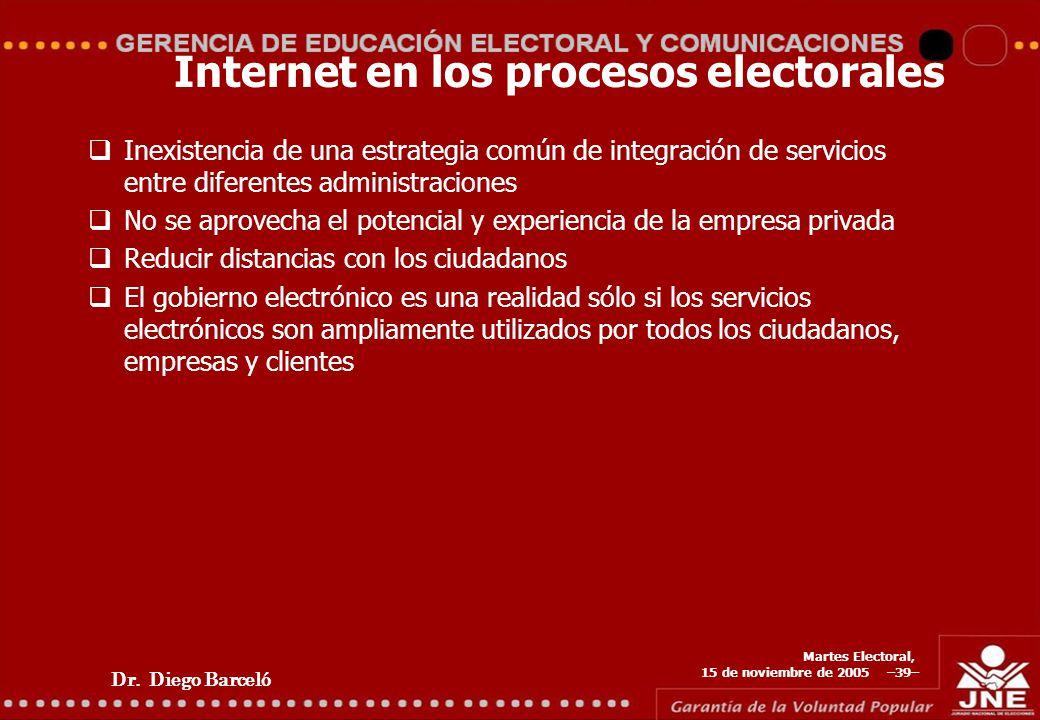 Dr. Diego Barceló Martes Electoral, 15 de noviembre de 2005 –39– Internet en los procesos electorales Inexistencia de una estrategia común de integrac