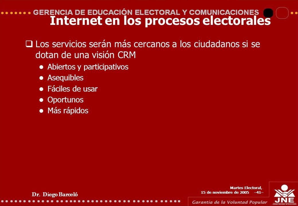 Dr. Diego Barceló Martes Electoral, 15 de noviembre de 2005 –41– Internet en los procesos electorales Los servicios serán más cercanos a los ciudadano