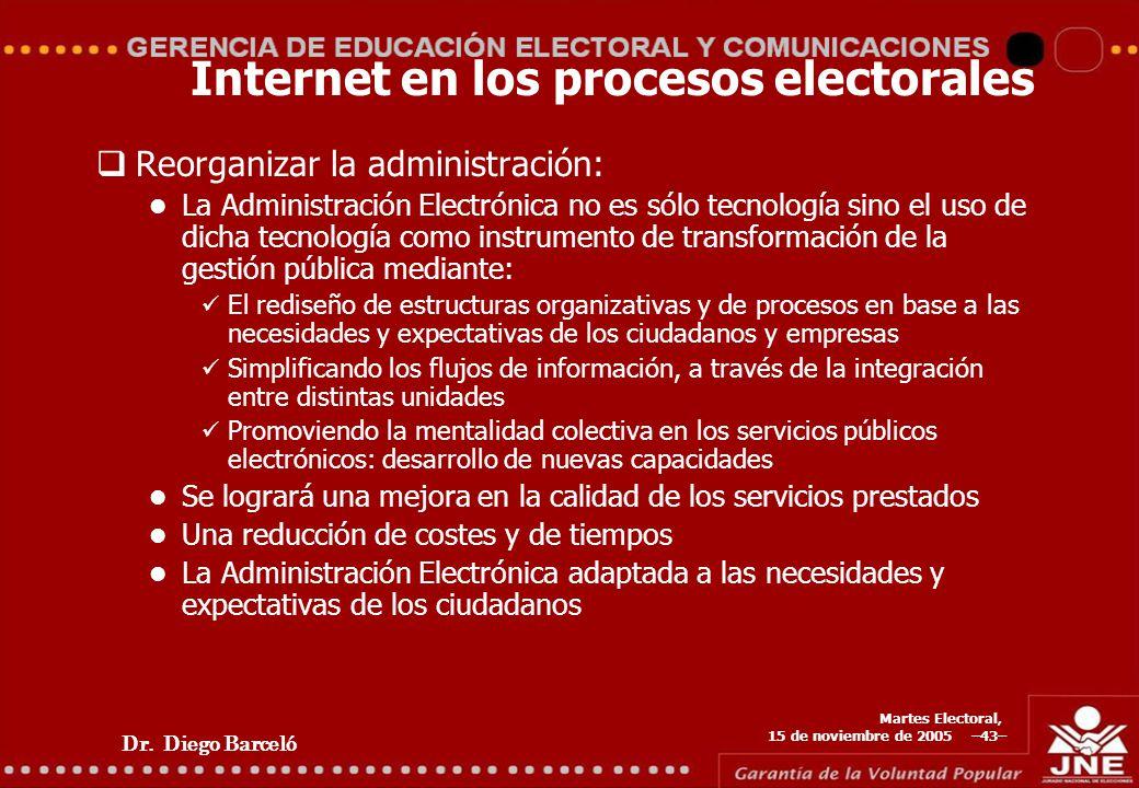 Dr. Diego Barceló Martes Electoral, 15 de noviembre de 2005 –43– Internet en los procesos electorales Reorganizar la administración: La Administración