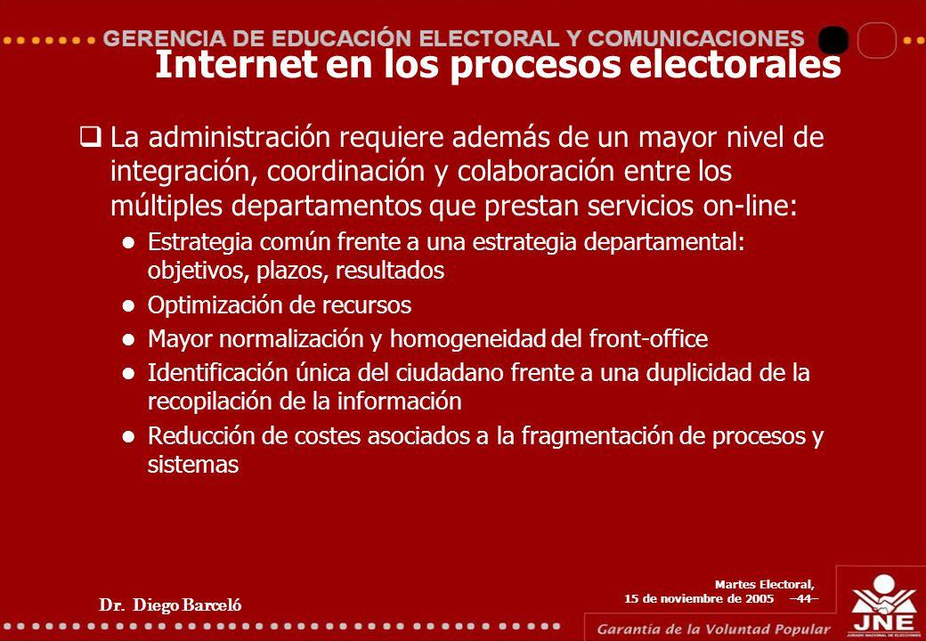 Dr. Diego Barceló Martes Electoral, 15 de noviembre de 2005 –44– Internet en los procesos electorales La administración requiere además de un mayor ni