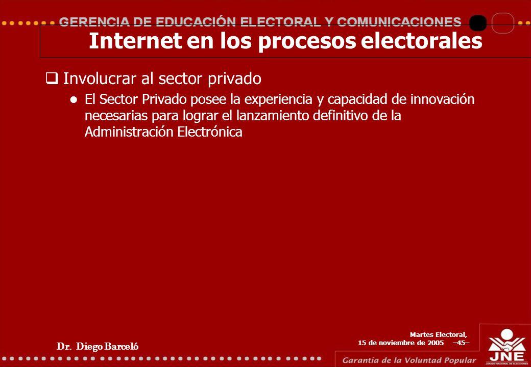 Dr. Diego Barceló Martes Electoral, 15 de noviembre de 2005 –45– Internet en los procesos electorales Involucrar al sector privado El Sector Privado p