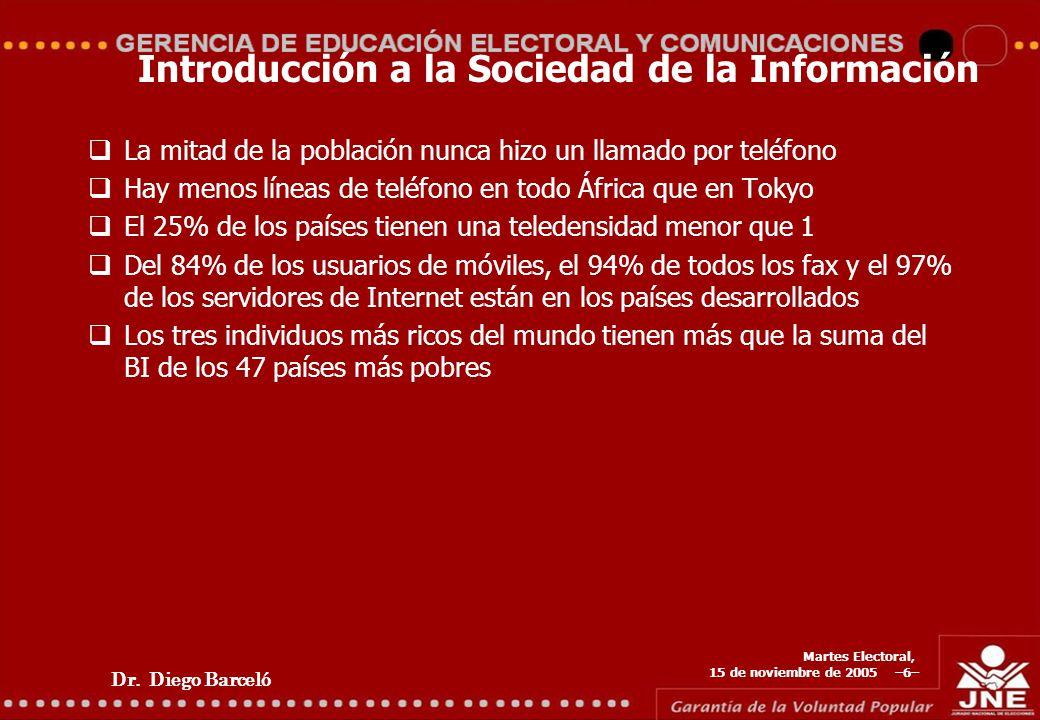 Dr. Diego Barceló Martes Electoral, 15 de noviembre de 2005 –6– Introducción a la Sociedad de la Información La mitad de la población nunca hizo un ll