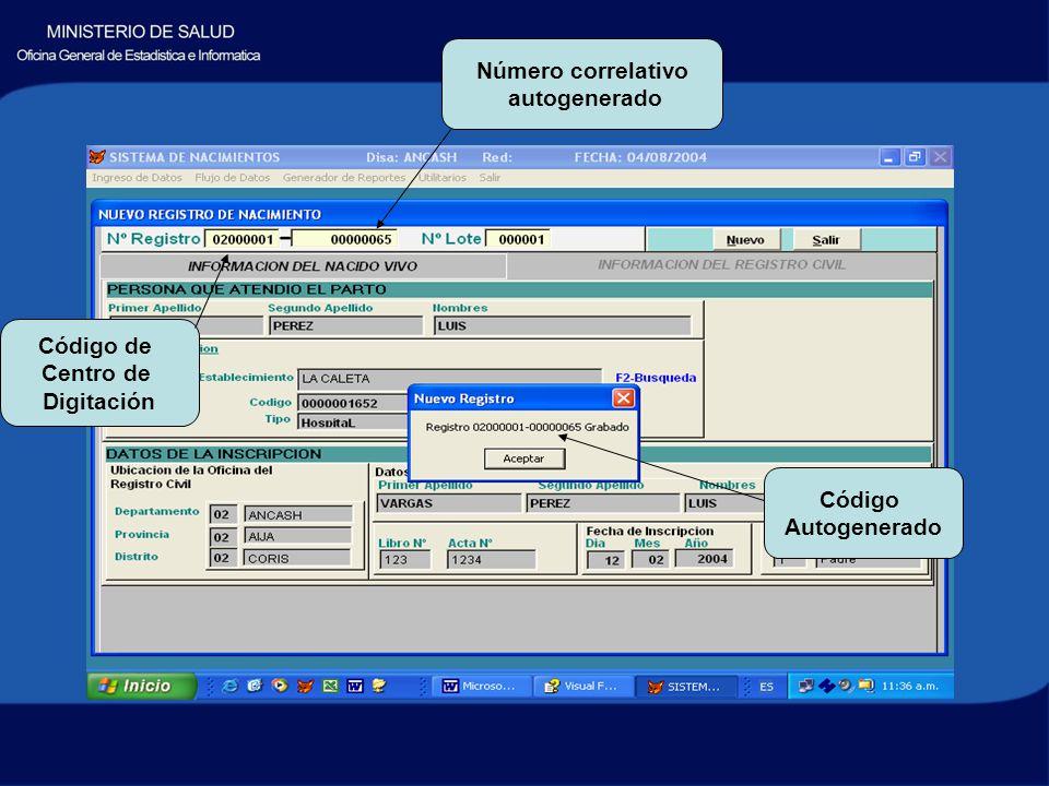 Código Autogenerado Código de Centro de Digitación Número correlativo autogenerado