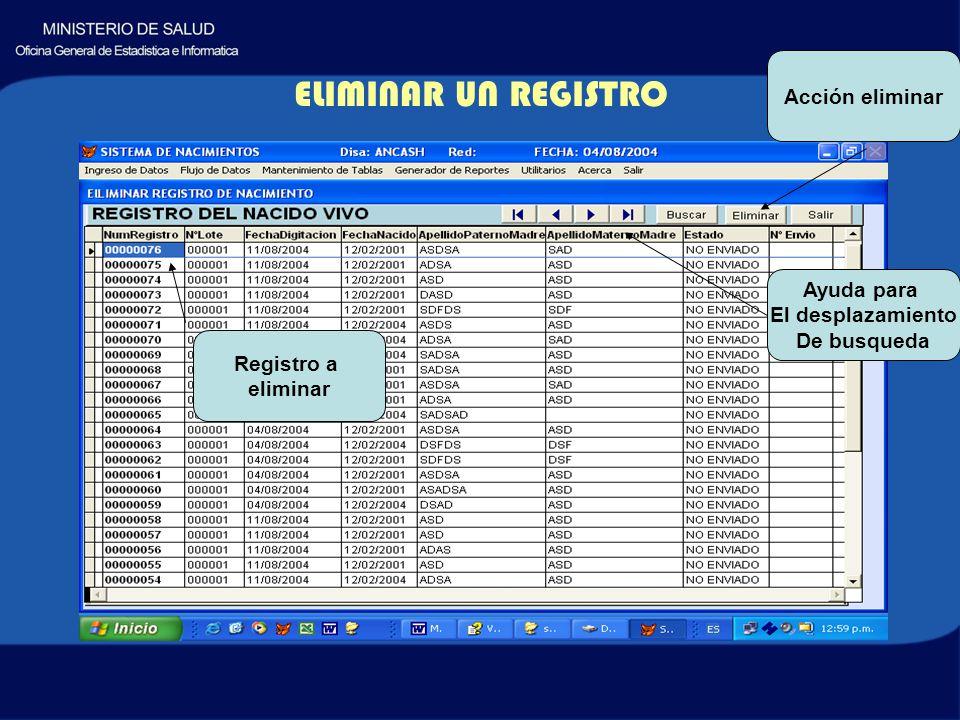 ELIMINAR UN REGISTRO Ayuda para El desplazamiento De busqueda Acción eliminar Registro a eliminar