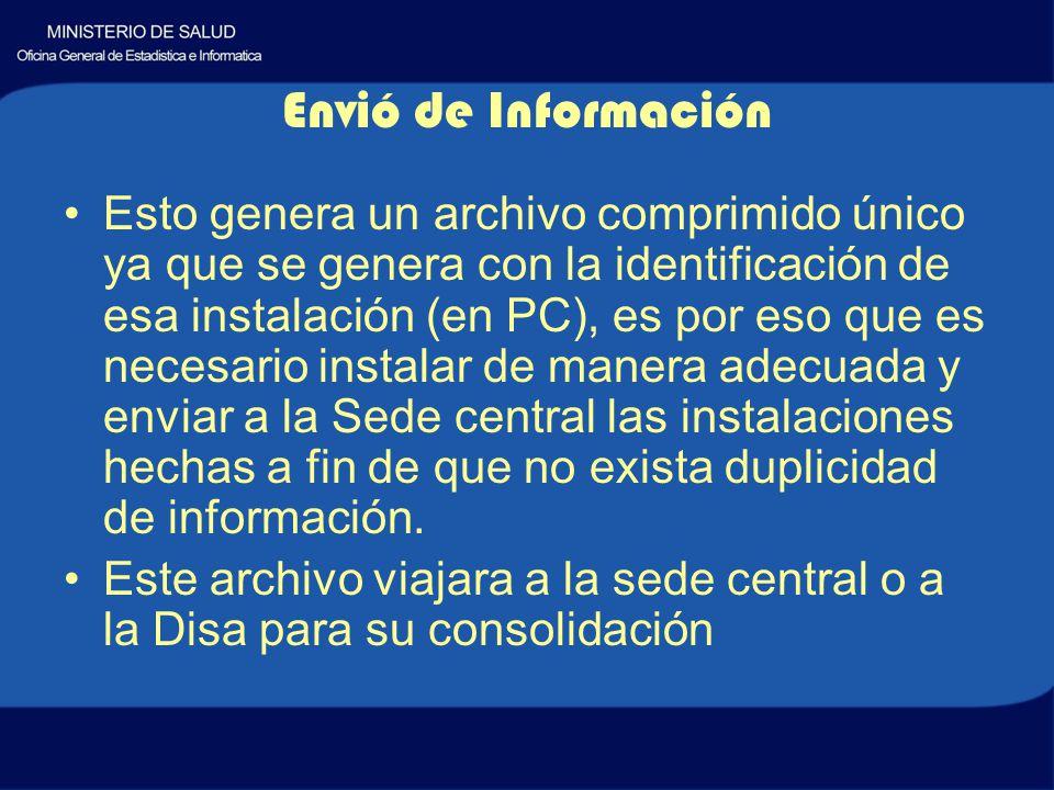 Esto genera un archivo comprimido único ya que se genera con la identificación de esa instalación (en PC), es por eso que es necesario instalar de manera adecuada y enviar a la Sede central las instalaciones hechas a fin de que no exista duplicidad de información.