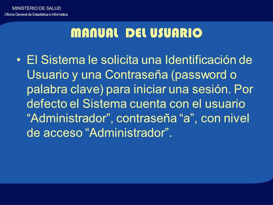 MANUAL DEL USUARIO El Sistema le solicita una Identificación de Usuario y una Contraseña (password o palabra clave) para iniciar una sesión.