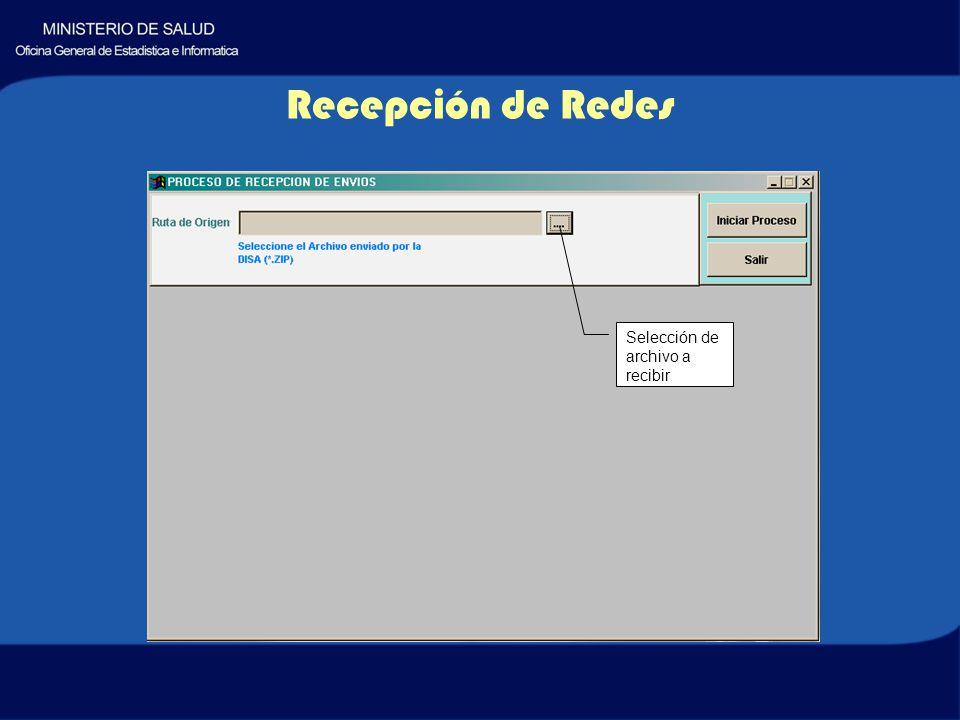 Recepción de Redes Selección de archivo a recibir