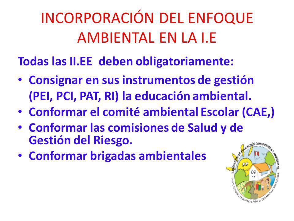 INCORPORACIÓN DEL ENFOQUE AMBIENTAL EN LA I.E Todas las II.EE deben obligatoriamente: Consignar en sus instrumentos de gestión (PEI, PCI, PAT, RI) la educación ambiental.