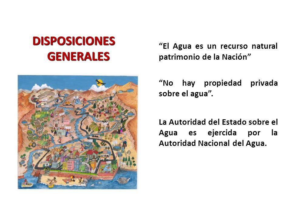 DISPOSICIONES GENERALES El Agua es un recurso natural patrimonio de la Nación No hay propiedad privada sobre el agua. La Autoridad del Estado sobre el