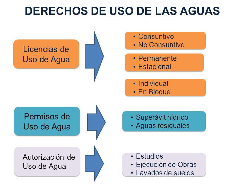 Licencias de Uso de Agua Permisos de Uso de Agua Autorización de Uso de Agua Consuntivo No Consuntivo Consuntivo No Consuntivo Permanente Estacional P