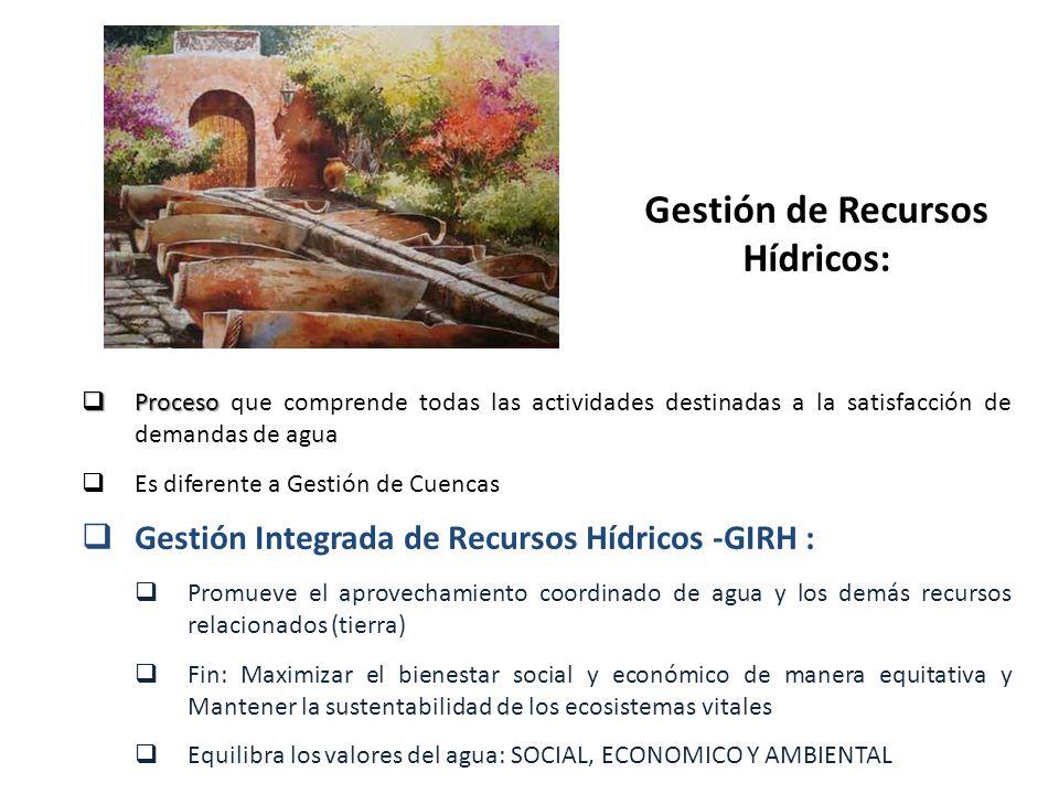 Gestión de Recursos Hídricos: Proceso Proceso que comprende todas las actividades destinadas a la satisfacción de demandas de agua Es diferente a Gest