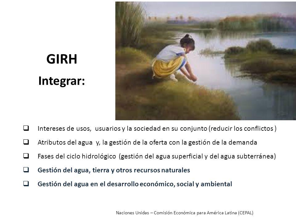 GIRH Integrar: Intereses de usos, usuarios y la sociedad en su conjunto (reducir los conflictos ) Atributos del agua y, la gestión de la oferta con la