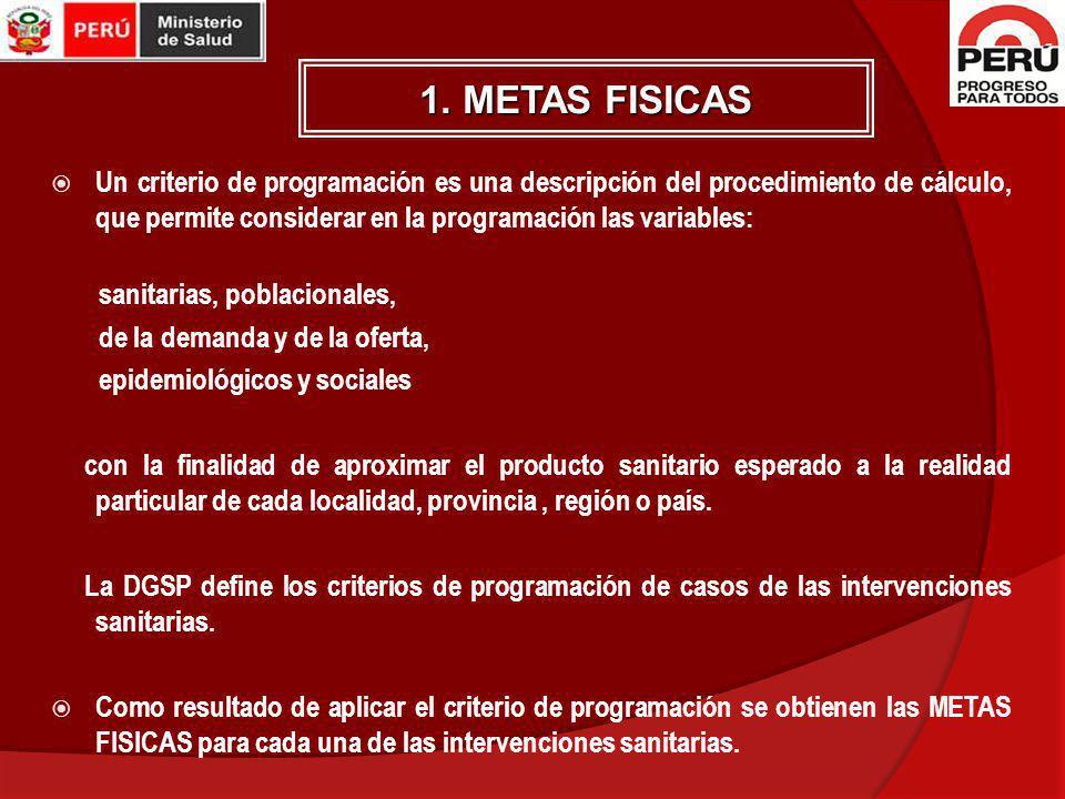1. METAS FISICAS Un criterio de programación es una descripción del procedimiento de cálculo, que permite considerar en la programación las variables: