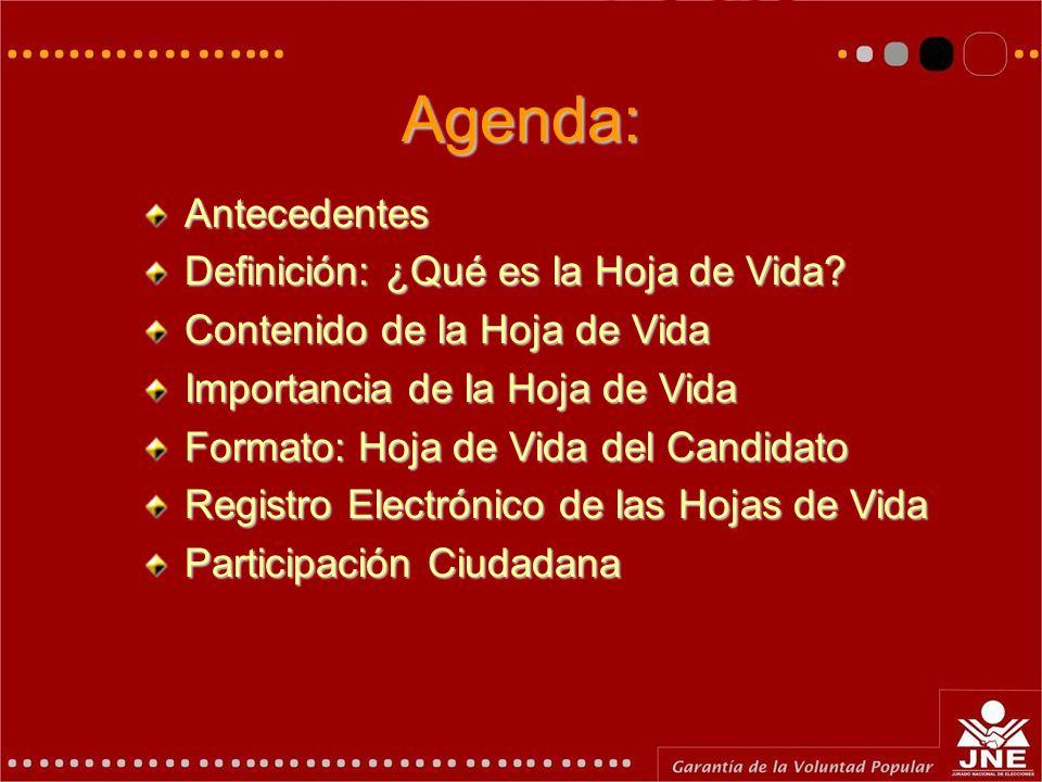 Hoja de Vida y la Participación Ciudadana Ing. Anabel Sofía Reaño Málaga Coordinadora de Proyectos del Jurado Nacional de Elecciones