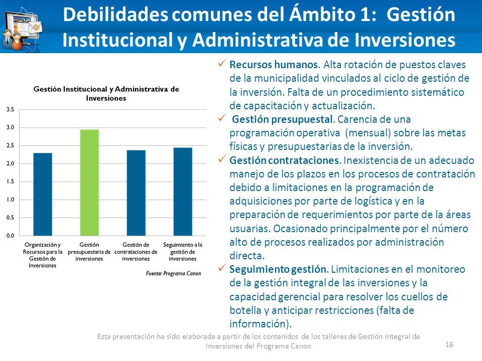 Debilidades comunes del Ámbito 1: Gestión Institucional y Administrativa de Inversiones 16 Esta presentación ha sido elaborada a partir de los contenidos de los talleres de Gestión Integral de Inversiones del Programa Canon Recursos humanos.