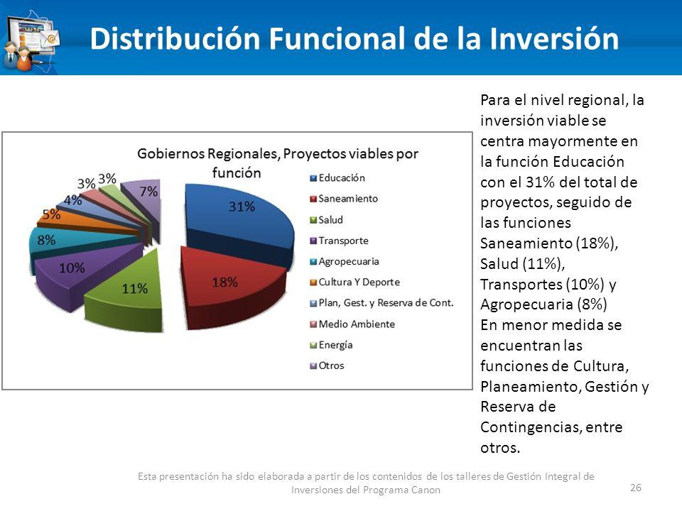 Distribución Funcional de la Inversión 26 Esta presentación ha sido elaborada a partir de los contenidos de los talleres de Gestión Integral de Inversiones del Programa Canon Para el nivel regional, la inversión viable se centra mayormente en la función Educación con el 31% del total de proyectos, seguido de las funciones Saneamiento (18%), Salud (11%), Transportes (10%) y Agropecuaria (8%) En menor medida se encuentran las funciones de Cultura, Planeamiento, Gestión y Reserva de Contingencias, entre otros.