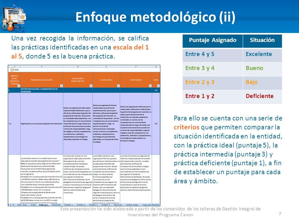Enfoque metodológico (ii) 7 Esta presentación ha sido elaborada a partir de los contenidos de los talleres de Gestión Integral de Inversiones del Programa Canon Una vez recogida la información, se califica las prácticas identificadas en una escala del 1 al 5, donde 5 es la buena práctica.