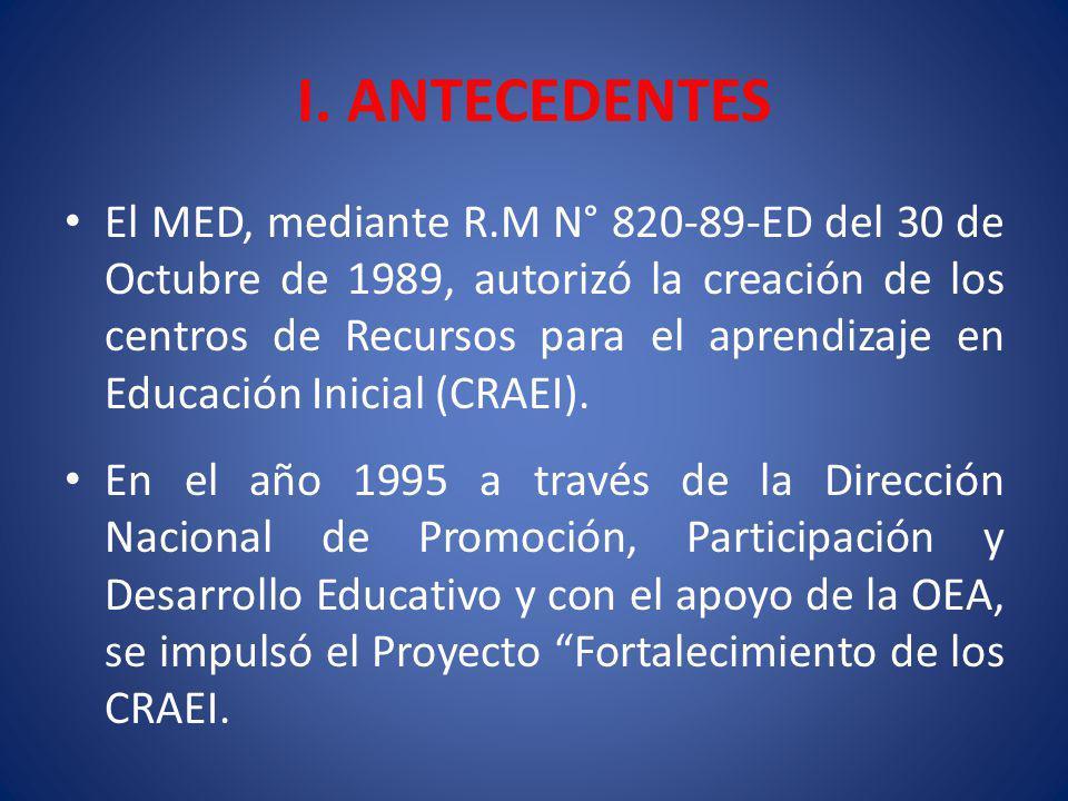 I. ANTECEDENTES El MED, mediante R.M N° 820-89-ED del 30 de Octubre de 1989, autorizó la creación de los centros de Recursos para el aprendizaje en Ed