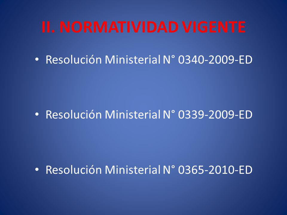 II. NORMATIVIDAD VIGENTE Resolución Ministerial N° 0340-2009-ED Resolución Ministerial N° 0339-2009-ED Resolución Ministerial N° 0365-2010-ED