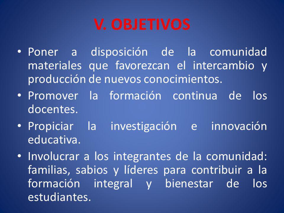 V. OBJETIVOS Poner a disposición de la comunidad materiales que favorezcan el intercambio y producción de nuevos conocimientos. Promover la formación