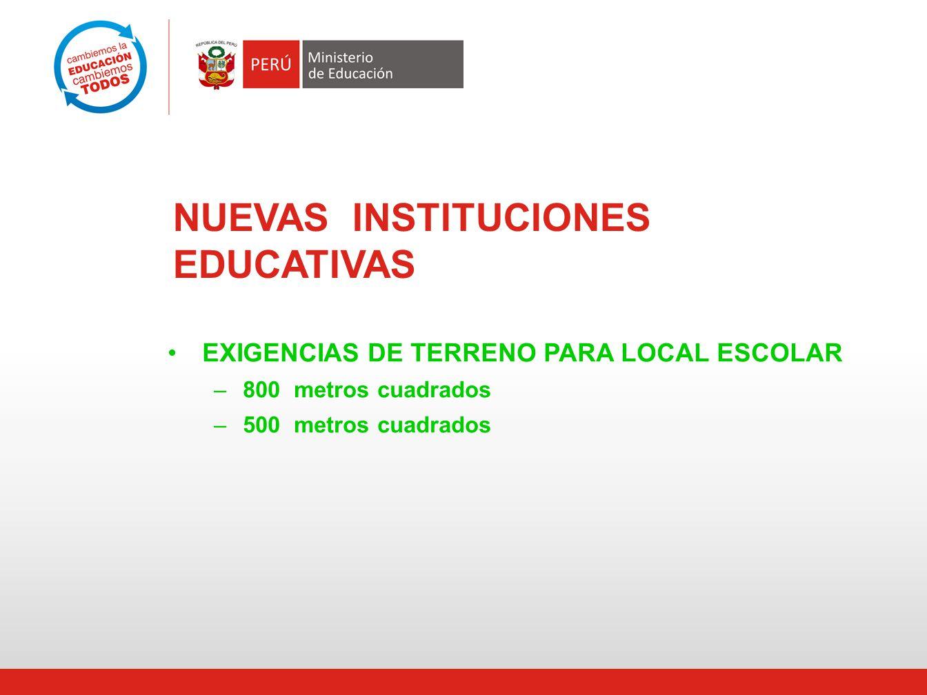 NUEVAS INSTITUCIONES EDUCATIVAS EXIGENCIAS DE TERRENO PARA LOCAL ESCOLAR –800 metros cuadrados –500 metros cuadrados