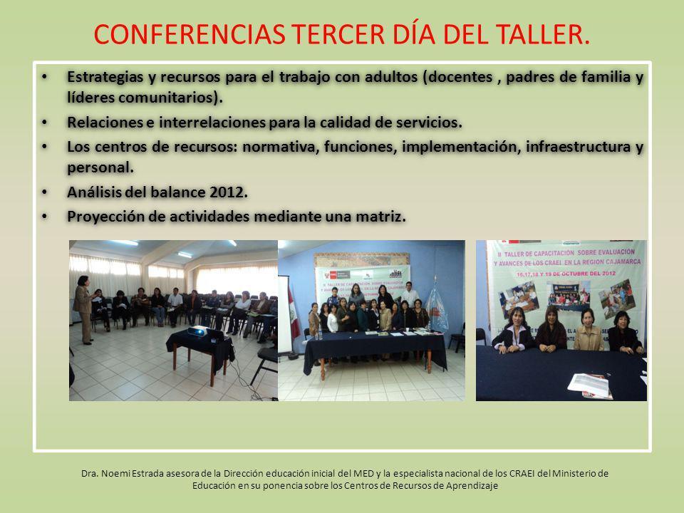 CONFERENCIAS TERCER DÍA DEL TALLER. Estrategias y recursos para el trabajo con adultos (docentes, padres de familia y líderes comunitarios). Relacione