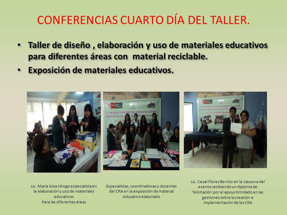CONFERENCIAS CUARTO DÍA DEL TALLER. Taller de diseño, elaboración y uso de materiales educativos para diferentes áreas con material reciclable. Exposi