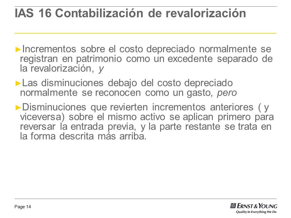 Page 14 Incrementos sobre el costo depreciado normalmente se registran en patrimonio como un excedente separado de la revalorización, y Las disminucio