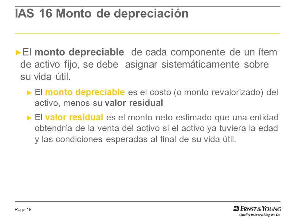 Page 15 IAS 16 Monto de depreciación El monto depreciable de cada componente de un ítem de activo fijo, se debe asignar sistemáticamente sobre su vida