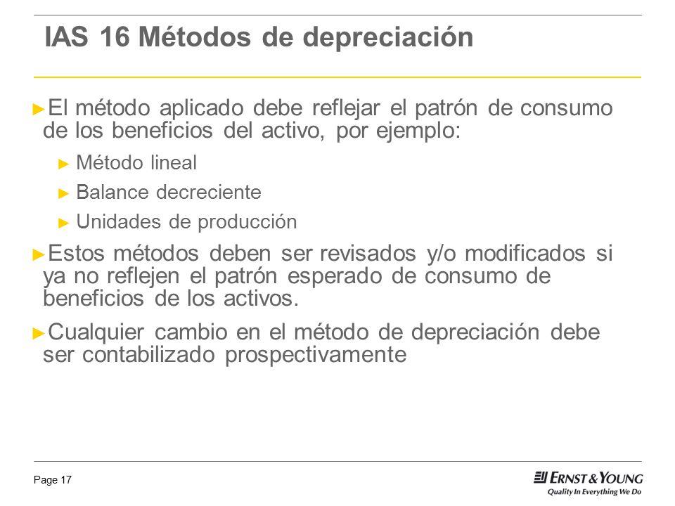 Page 17 El método aplicado debe reflejar el patrón de consumo de los beneficios del activo, por ejemplo: Método lineal Balance decreciente Unidades de