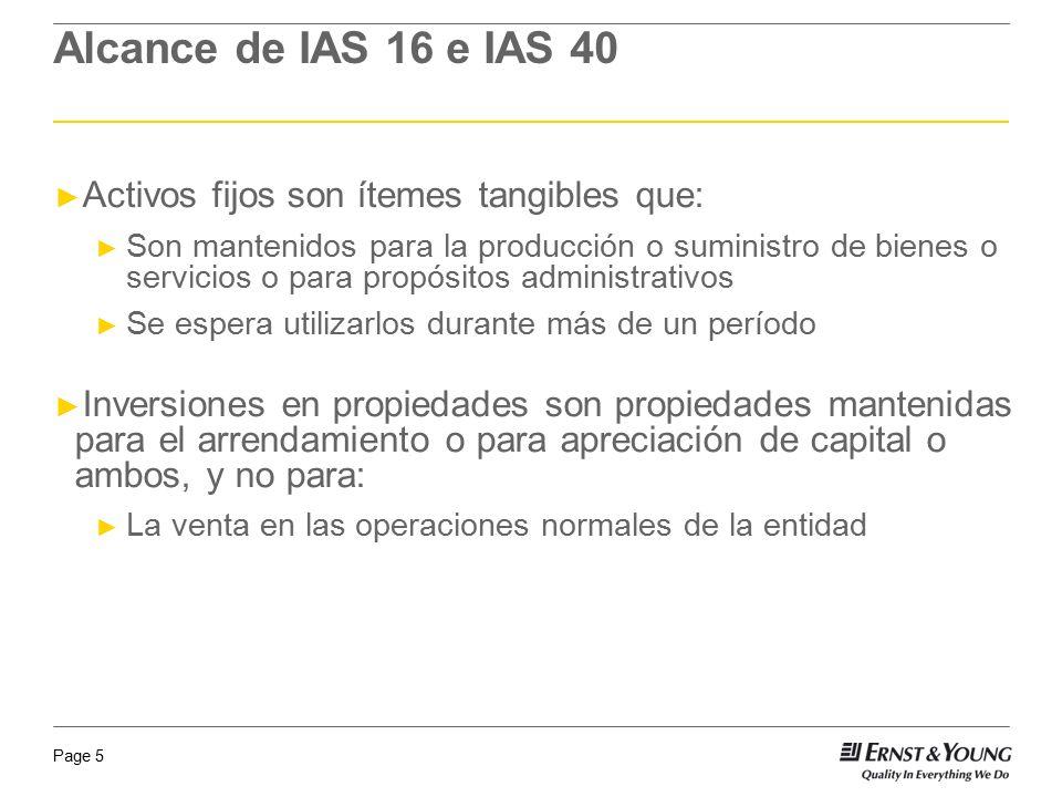 Page 5 Alcance de IAS 16 e IAS 40 Activos fijos son ítemes tangibles que: Son mantenidos para la producción o suministro de bienes o servicios o para