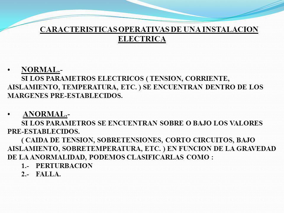 CARACTERISTICAS OPERATIVAS DE UNA INSTALACION ELECTRICA NORMAL.- SI LOS PARAMETROS ELECTRICOS ( TENSION, CORRIENTE, AISLAMIENTO, TEMPERATURA, ETC. ) S