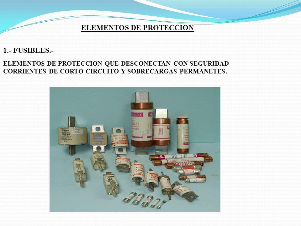 ELEMENTOS DE PROTECCION 1.- FUSIBLES.- ELEMENTOS DE PROTECCION QUE DESCONECTAN CON SEGURIDAD CORRIENTES DE CORTO CIRCUITO Y SOBRECARGAS PERMANETES.