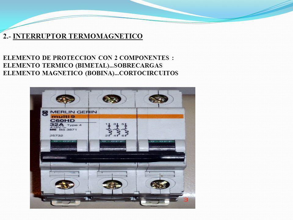 2.- INTERRUPTOR TERMOMAGNETICO ELEMENTO DE PROTECCION CON 2 COMPONENTES : ELEMENTO TERMICO (BIMETAL) … SOBRECARGAS ELEMENTO MAGNETICO (BOBINA) … CORTO