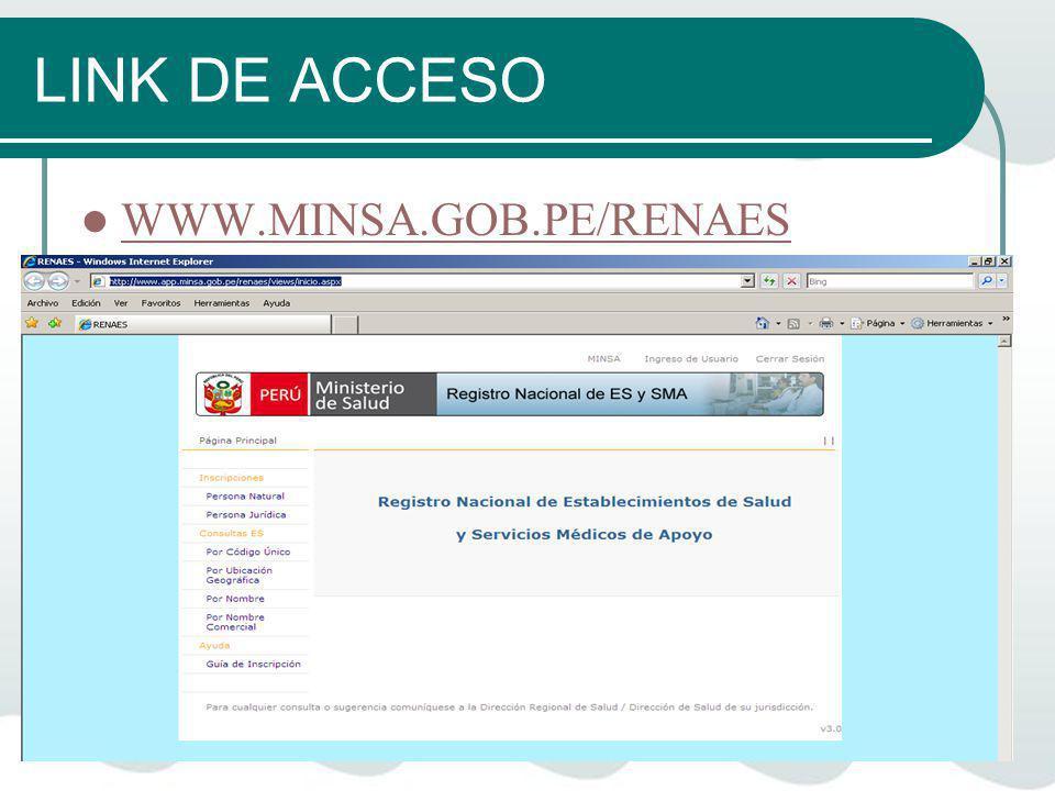 LINK DE ACCESO WWW.MINSA.GOB.PE/RENAES
