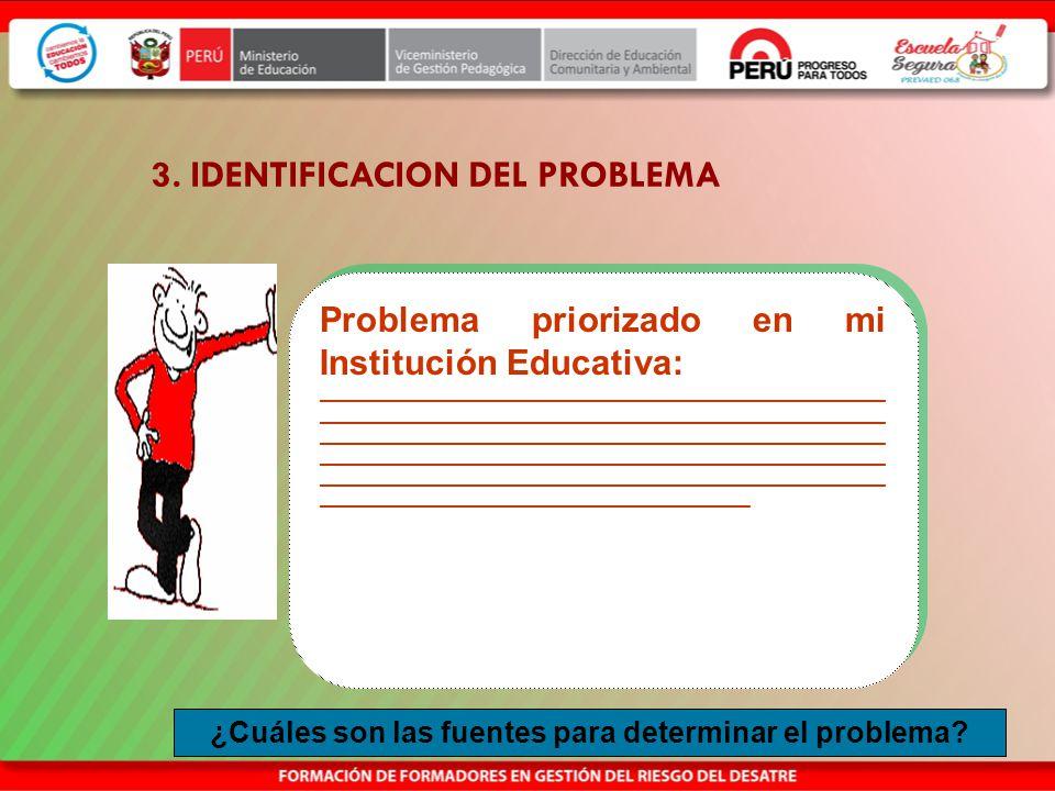 3. IDENTIFICACION DEL PROBLEMA Priorizar el problema al que quieren dar solución a través del proyecto. Identificar las causas y efectos del problema