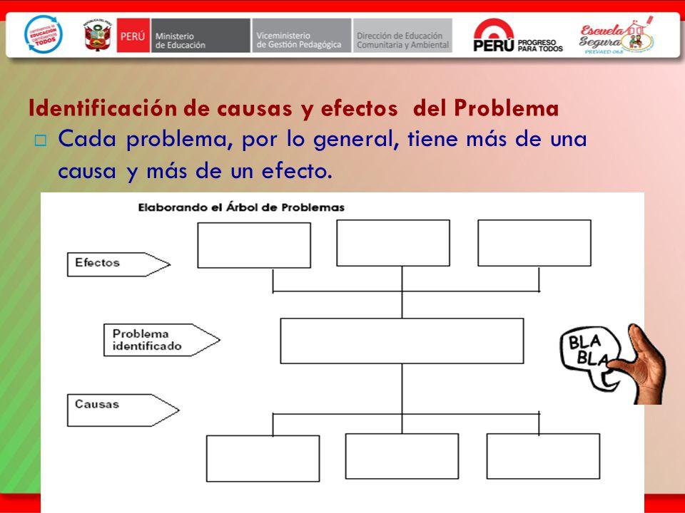 Identificación de causas y efectos del Problema Cada problema, por lo general, tiene más de una causa y más de un efecto.
