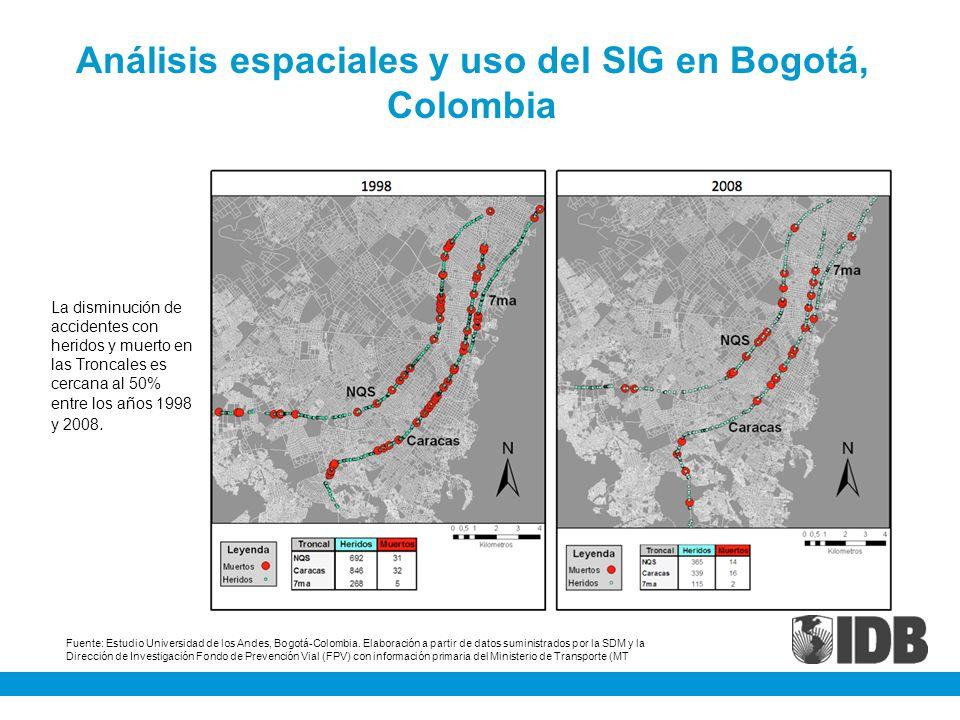 Análisis espaciales y uso del SIG en Bogotá, Colombia La disminución de accidentes con heridos y muerto en las Troncales es cercana al 50% entre los a