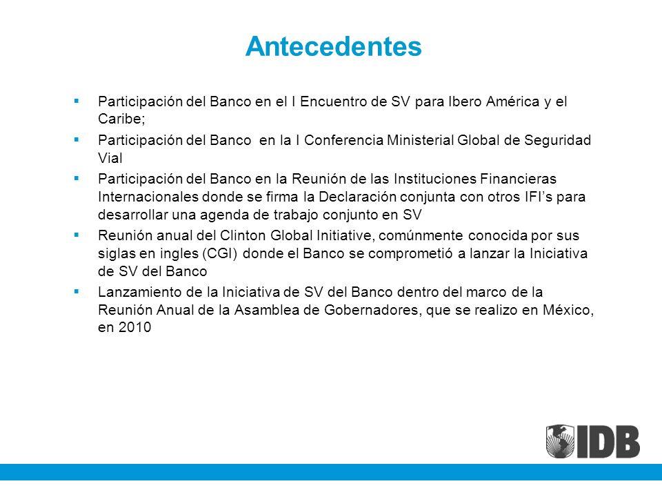 Antecedentes Participación del Banco en el I Encuentro de SV para Ibero América y el Caribe; Participación del Banco en la I Conferencia Ministerial Global de Seguridad Vial Participación del Banco en la Reunión de las Instituciones Financieras Internacionales donde se firma la Declaración conjunta con otros IFIs para desarrollar una agenda de trabajo conjunto en SV Reunión anual del Clinton Global Initiative, comúnmente conocida por sus siglas en ingles (CGI) donde el Banco se comprometió a lanzar la Iniciativa de SV del Banco Lanzamiento de la Iniciativa de SV del Banco dentro del marco de la Reunión Anual de la Asamblea de Gobernadores, que se realizo en México, en 2010