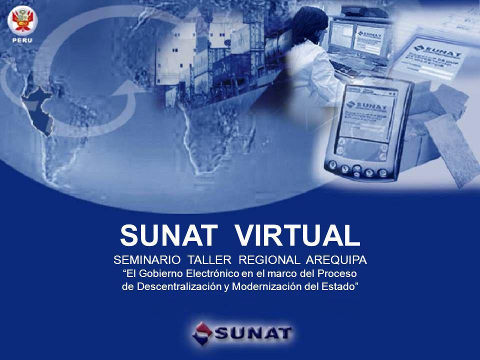 Gobierno electrónico SUNAT VIRTUAL SEMINARIO TALLER REGIONAL AREQUIPA El Gobierno Electrónico en el marco del Proceso de Descentralización y Modernización del Estado