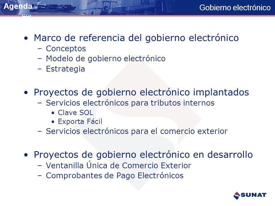 Gobierno electrónico Transacciones Tributarias Clave SOL Hasta Septiembre del 2009 se habían entregado 3360,406 claves, podemos decir que es el medio de identificación electrónica mas difundido y masivo implementado por entidad publica ó privada a la fecha en nuestro país.