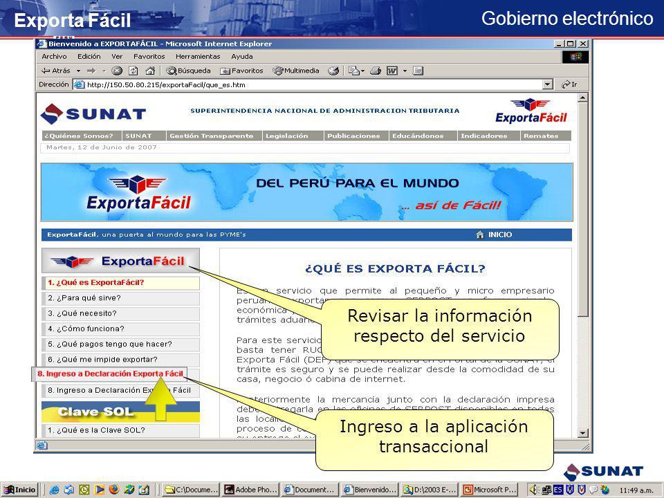 Gobierno electrónico Ingreso mediante banner Publicitario Exporta Fácil