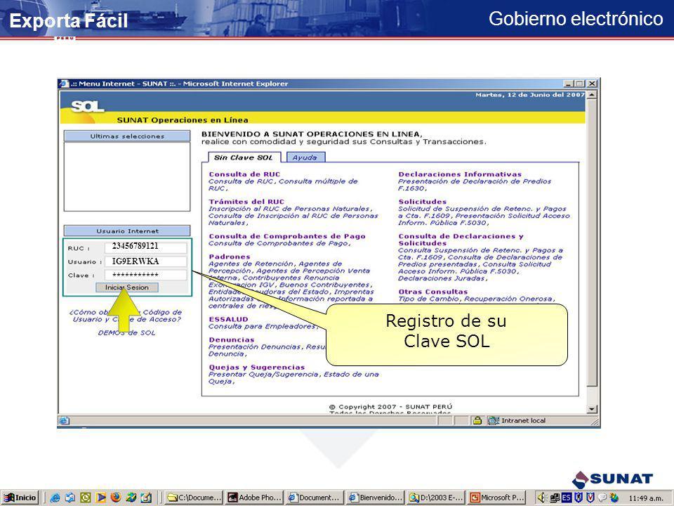 Gobierno electrónico Exporta Fácil