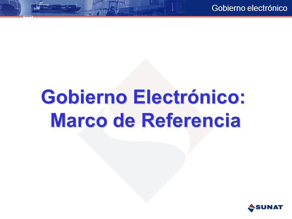 Gobierno electrónico Marco de referencia del gobierno electrónico –Conceptos –Modelo de gobierno electrónico –Estrategia Proyectos de gobierno electró