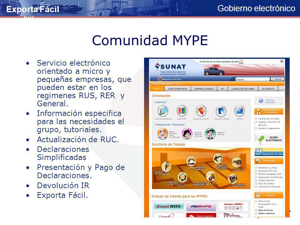 Gobierno electrónico Comunidad de Trabajador Independiente Servicio electrónico orientado a trabajadores independientes, que desarrollan cualquier pro