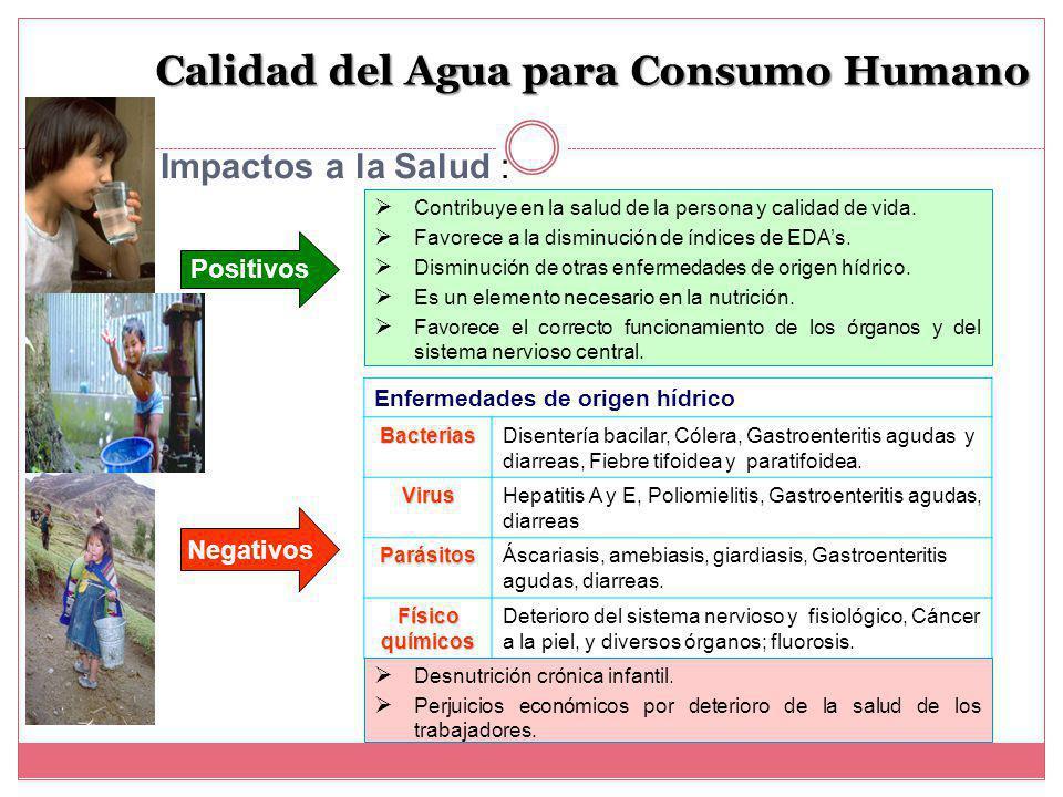 Calidad del Agua para Consumo Humano Contribuye en la salud de la persona y calidad de vida.