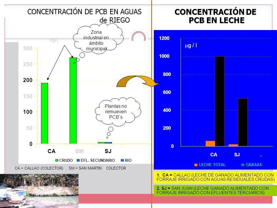 CONCENTRACIÓN DE PCB EN AGUAS de RIEGO CA = CALLAO (COLECTOR) SM = SAN MARTIN (COLECTOR) SJ = SAN JUAN < 5.0 µg/l ug/L Plantas no remueven PCB´s Zona industrial en ámbito municipal CONCENTRACIÓN DE PCB EN LECHE 1.