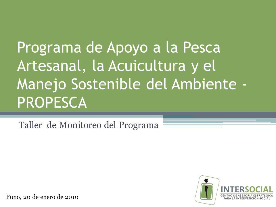 Programa de Apoyo a la Pesca Artesanal, la Acuicultura y el Manejo Sostenible del Ambiente - PROPESCA Taller de Monitoreo del Programa Puno, 20 de enero de 2010